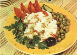 Рыба-сабля, тушенная с овощами